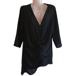 Zara Basic Asymmetrical knotted front blouse xs